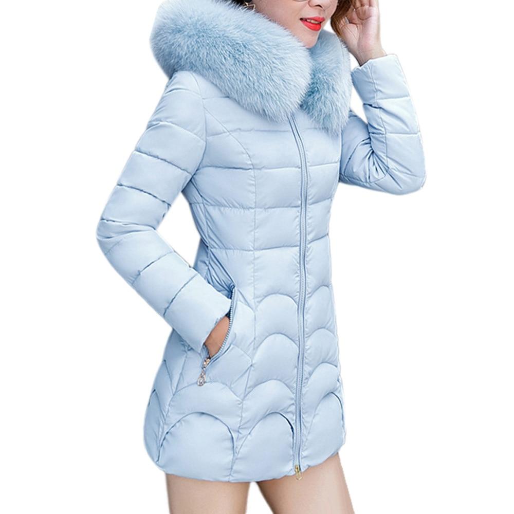 Manteau Chaud Veste De Couleur Femmes rouge bleu Noir À Épais Mode gris Outwear Et Manteaux Long Femelle Col Solide Mince rose Coton 2018 Fourrure Parka Capuchon xvHwIzz