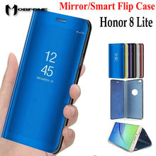 For Huawei Honor 8 Lite Mirror Flip Stand Luxury Plastic Leather Case For Huawei Honor 8 Lite 5.2inch 360 Full Protective Cover