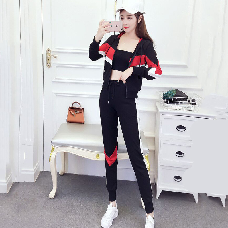 Casual printing Sportswear suit spring autumn color matching hoodie Sweatshirt + sports feet pants fashion 2 two-piece set women