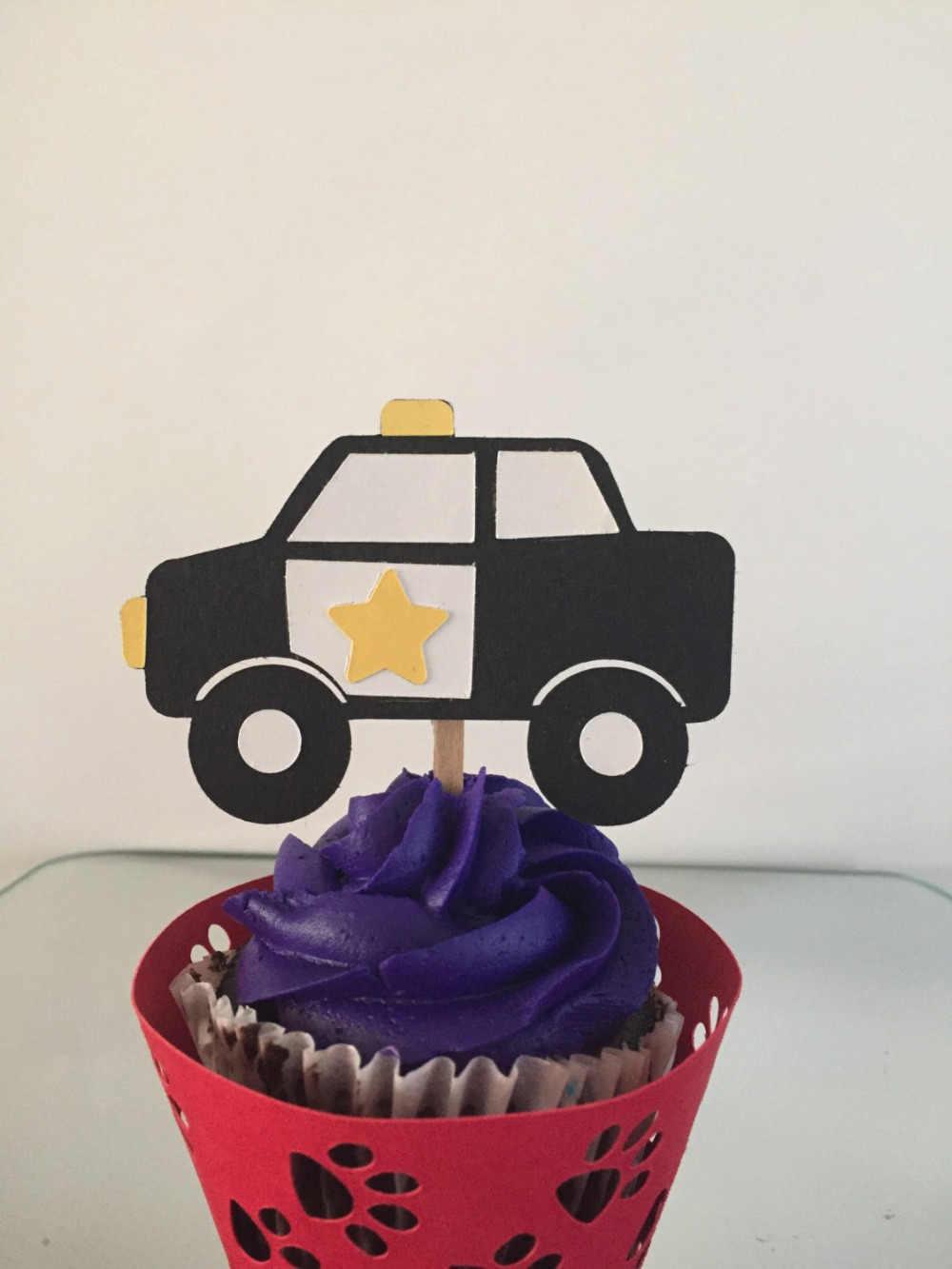 12 Pcs Kartun Mobil Polisi Cupcake Toppers Pilihan Anak Ulang Tahun Tema Pesta Dekorasi Anak Anak Nikmat Natal Kue