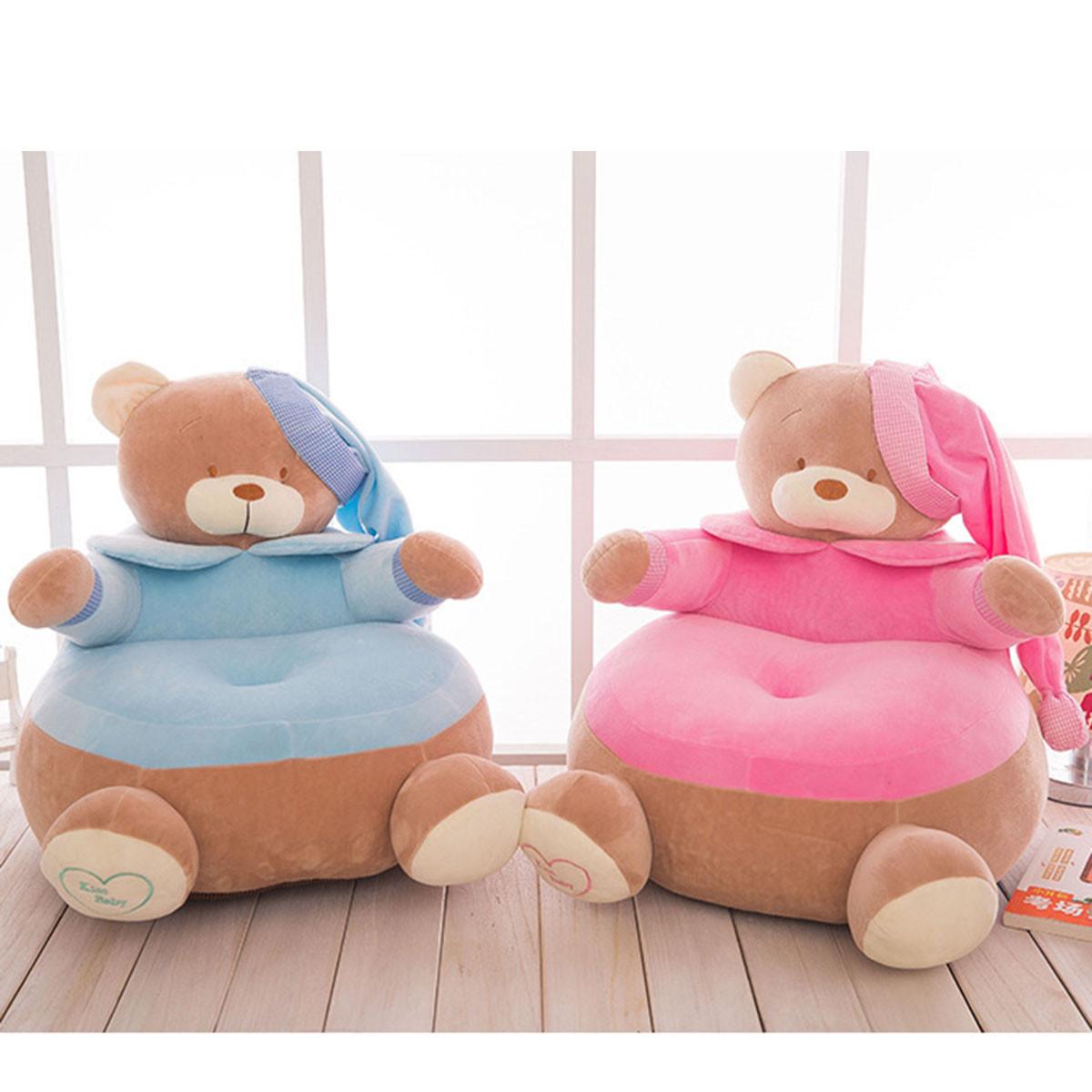 Детские сиденья кожа мягкий диван плюшевые дети мешок фасоли стул комфорт плюшевые мультфильм медведь стульев моющийся чехол только нет заполнение