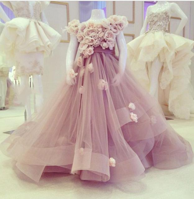 Bela Luz Roxo Da Menina de Flor Vestidos Para O Casamento Feito À Mão Flor Jewel Neck Pavimento Length Little Girl Pageant Vestido