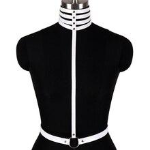 Harnais blanc cuir métal Rivet sangle Crop hauts corps en cage cou ceinture réglable Punk Goth Party tenue de club Lingerie femmes
