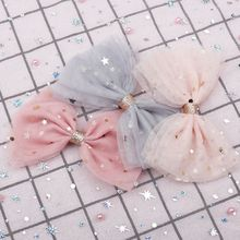 Кружевные заколки для волос принцессы с блестящими звездами, заколки для девочек, блестящие банты для волос, модные детские головные уборы, аксессуары для волос