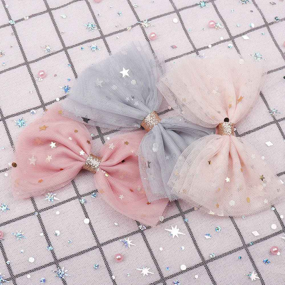 Princess Lace Hair Clips With Bling Stars Hairpins For Girls Glitter Knot Hair Bows Fashion Kids Headwear Hair Accessories