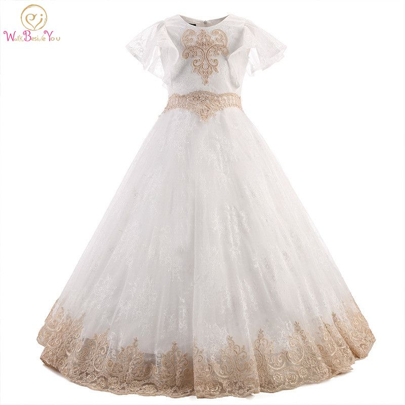 Walk Beside You Robe Fille Enfant Mariage De Soiree Ivory   Flower     Girl     Dresses   Gold Lace Formal   Dress   for   Girl   Kids Short Sleeves