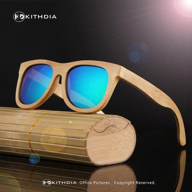 KITHDIA 2016 Retro Bamboo Wood Sunglasses Men Women Brand Designer Sport Goggles Gold Mirror Sun Glasses Shades lunette oculo