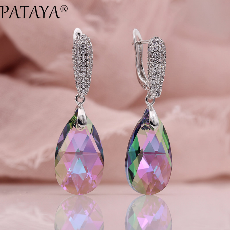все цены на PATAYA New Water Drop Long Earrings Women Colorful Luxury Wedding Jewelry True White Gold CZ Austria Crystal Dangle Earrings онлайн