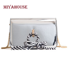 Miyahouse Patent Leather Fashion Shoulder Bag Ribbons Design Messenger Bag With Chain For Female Korean Style Crossbody Bag