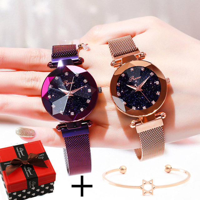 Luxury Brand Ladies Watch Star Sky Diamond Bracelet Quartz Women Watches Magnetic Dress Rose Gold Wristwatch relogio feminino
