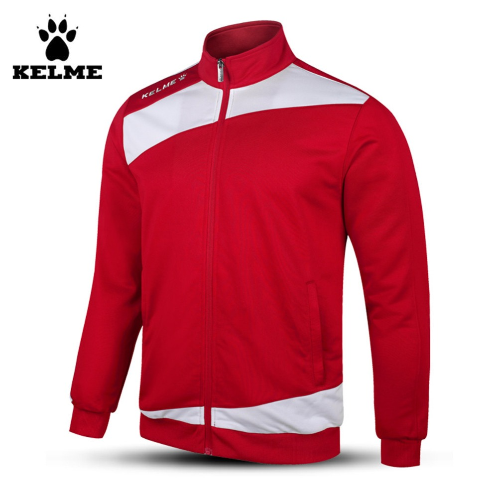 Kelme K15Z314 Men Full Zip Knitted Long Sleeve Stand Collar Football Training Jacket Red White stylish turn down collar long sleeve zip pockets women s black jacket