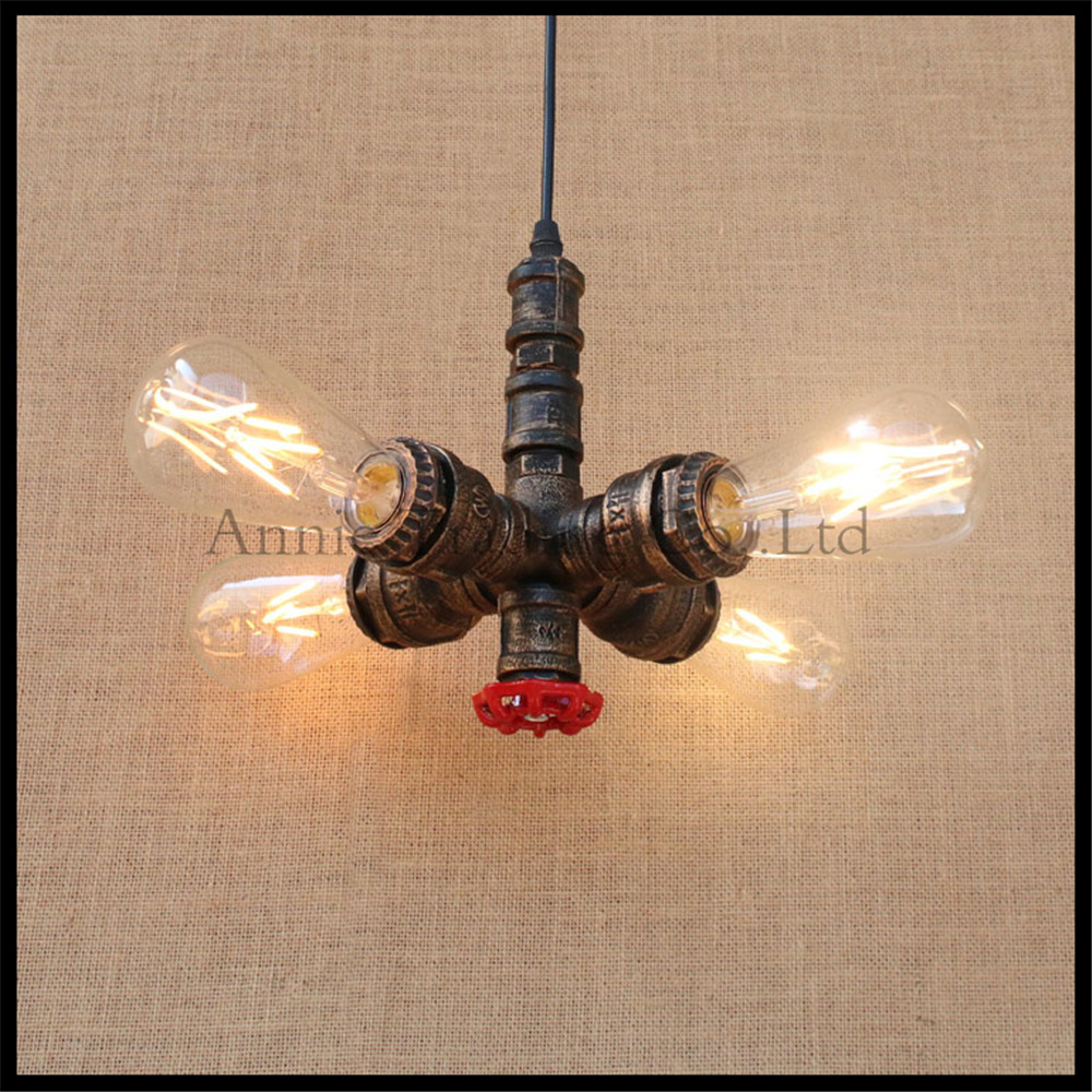 Industrial Vintage 4pcs E27 Edison bulb water pipe pendant lamp Rustic Retro Lustres hanging lighting for Bar Cafe shop fixture vintage loft industrial edison flower glass ceiling lamp droplight pendant hotel hallway store club cafe beside coffee shop