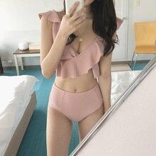 Женское бикини с высокой талией, однотонное розовое бикини с рюшами и пуш ап в Корейском стиле, купальный костюм