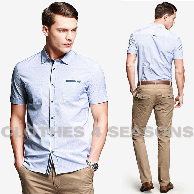 New Brand 2014 England Style Men Fashion Shirts Casual Short Sleeve Stripe High Quality