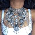 Ladyfirst Sexy Joya BRICOLAJE Cuerpo de Verano de Lujo de la Cadena de Metal Grueso Collar y colgantes de Flores Femme Instagram Declaración Collar 3026