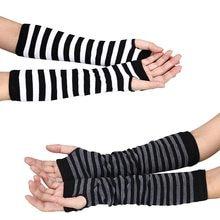 ab6dd4420e8d 2018 nueva llegada guantes de invierno mujeres Stripted muñeca brazo de mano  de punto guantes largos sin dedos muchachas mujeres.
