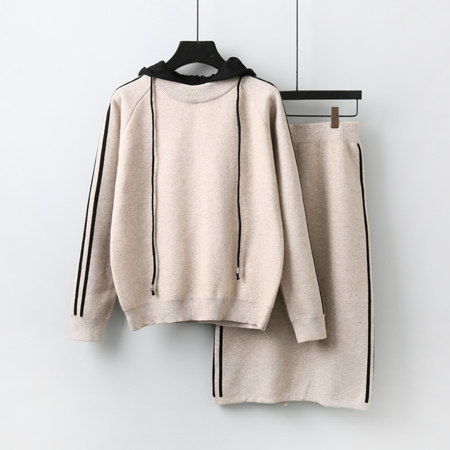 da9d2a019 2018 New Autumn Women s Hooded Long Sleeve Sweater + Knitted Skirt ...