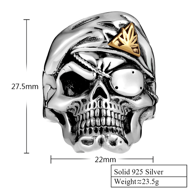 ORIGINAL 925 STERLING SILVER ONE EYE MASK SKULL RING