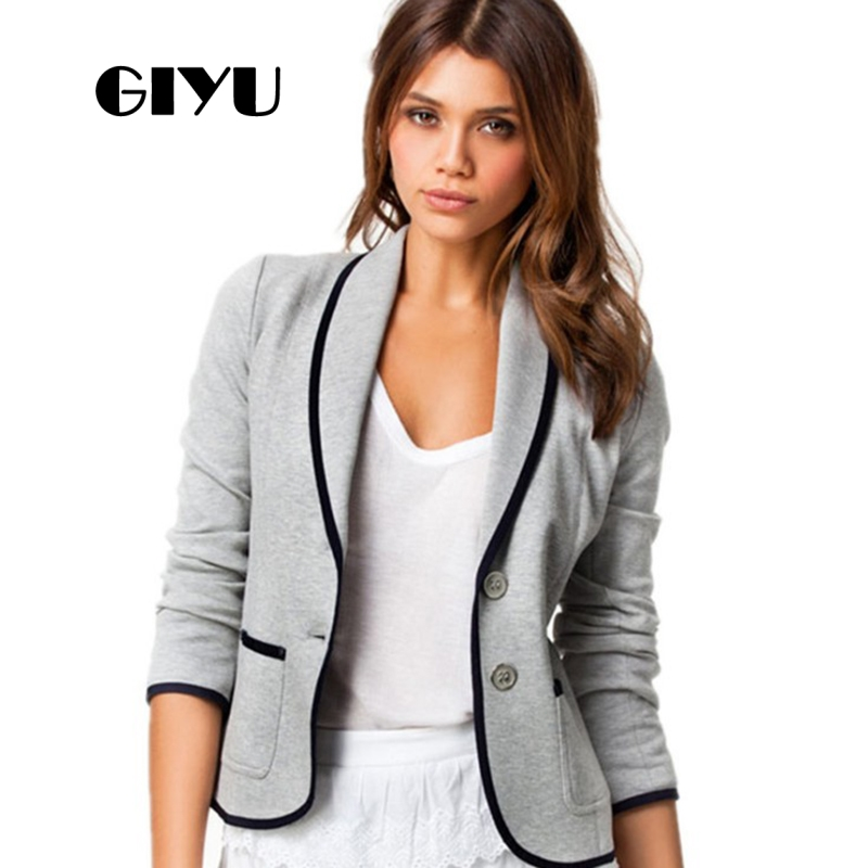 GIYU 5XL Autumn Women Patchwork Casual Blazer Long Sleeve Jackets Pockets Tops Casual Single Breasted Plus Size Camiseta Mujer