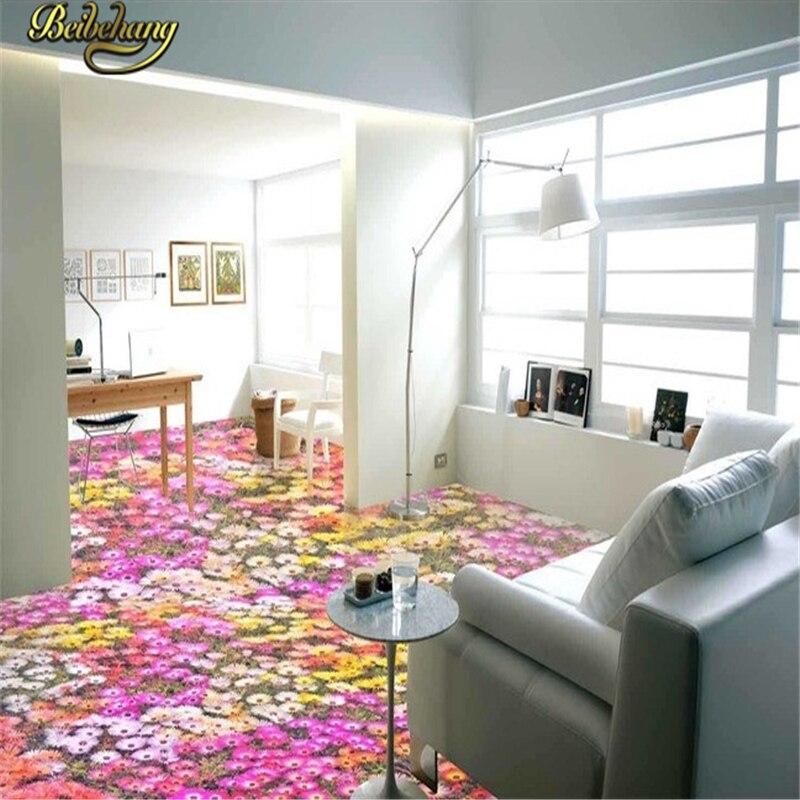 где купить beibehang Custom Flowers Floor Mural wallpaper for walls 3 d Toilets Bathroom Bedroom 3D Flooring Self-adhesive wall paper roll по лучшей цене