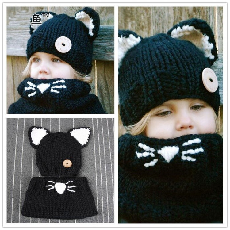 Ems Dhl Free New Fashion Lovely Children Hat Scarf Knitted Hats Knitting Wool Cat Ear Warmer Winter Hats Scarf Neck Children In Hats Caps From