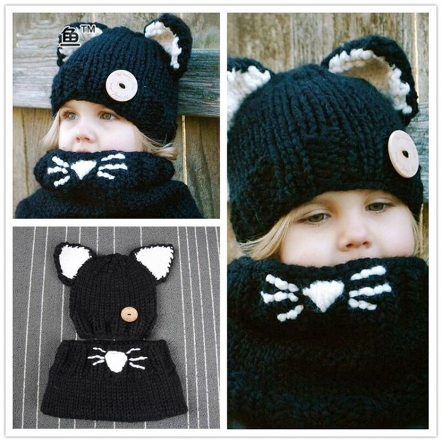 EMS DHL Free New Fashion Lovely Children Hat Scarf Knitted hats Knitting  Wool Cat Ear warmer 85dba385db1