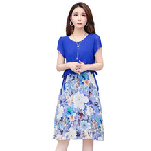 2019 Summer Hot Dress Womens Short Sleeve Floral Printed Chiffon O-neck Casual Beach Party Dresses Plus Size Vestidos цена