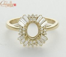 8x6mm Oval Natural 0.87t Diamond Solid 18k Yellow Gold Wedding Semi Mount Ring