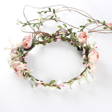 Ladies Garlands Wreath Artificial Flower Hair Band Headband Sweet Adjustable Elastic Accessories Bridal Fashion Crown Decor(China)