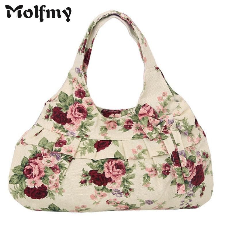 Bow Canvas Handbags Floral Printing Causual Tote Bags Bolsas All-Match Portable Vintage Shoulder Hobo Shopping Bags