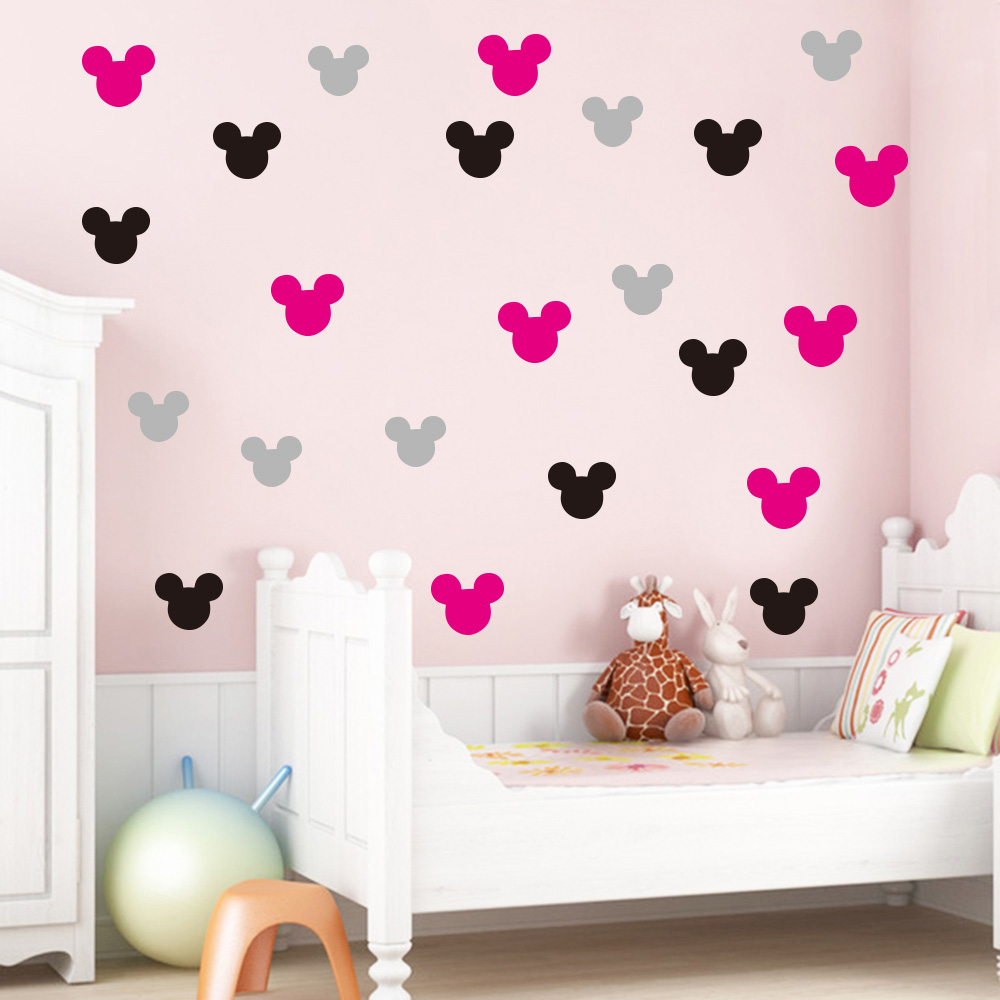 Decoracion De Vinilos Para Dormitorios 20 Unids Set Mickey Minnie Mouse Pegatinas De Pared De Vinilo Para Habitaciones De Niños Decoración De Pared De Guardería Calcomanías Decoración