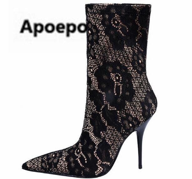 Apoepo women boots sexy black lace mid-calf boots pointed toe ladies shoes 2018 spring embroider ladies shoes high heels boots mary yanxi new fashion high heels women boots lace up pointed toe shoes mid calf worm boots thin heels elegant shoes big size43
