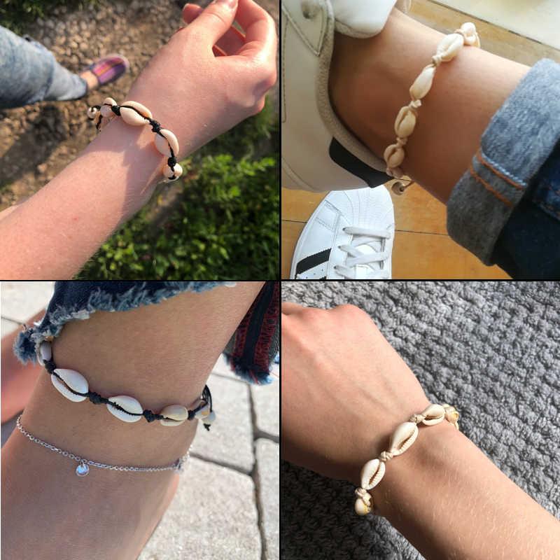 Простые богемные морские браслеты из раковин и браслета DIY пляжные регулируемые веревочки браслет ювелирный подарок женские аксессуары Прямая поставка