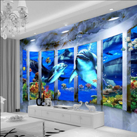 Custom Size 3D Wallpaper Modern Mural Space Ocean Whales Wallpapers For Living Room Bedroom Wall Paper 3D Photo Wallpaper