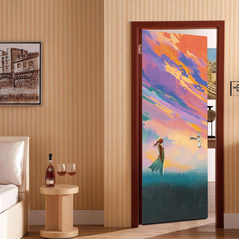 3D дверь вид любовник девушки рисунок с дверью краска Спальня Ванная комната, коридор дверной фон декоративные ПВХ наклейки на стену