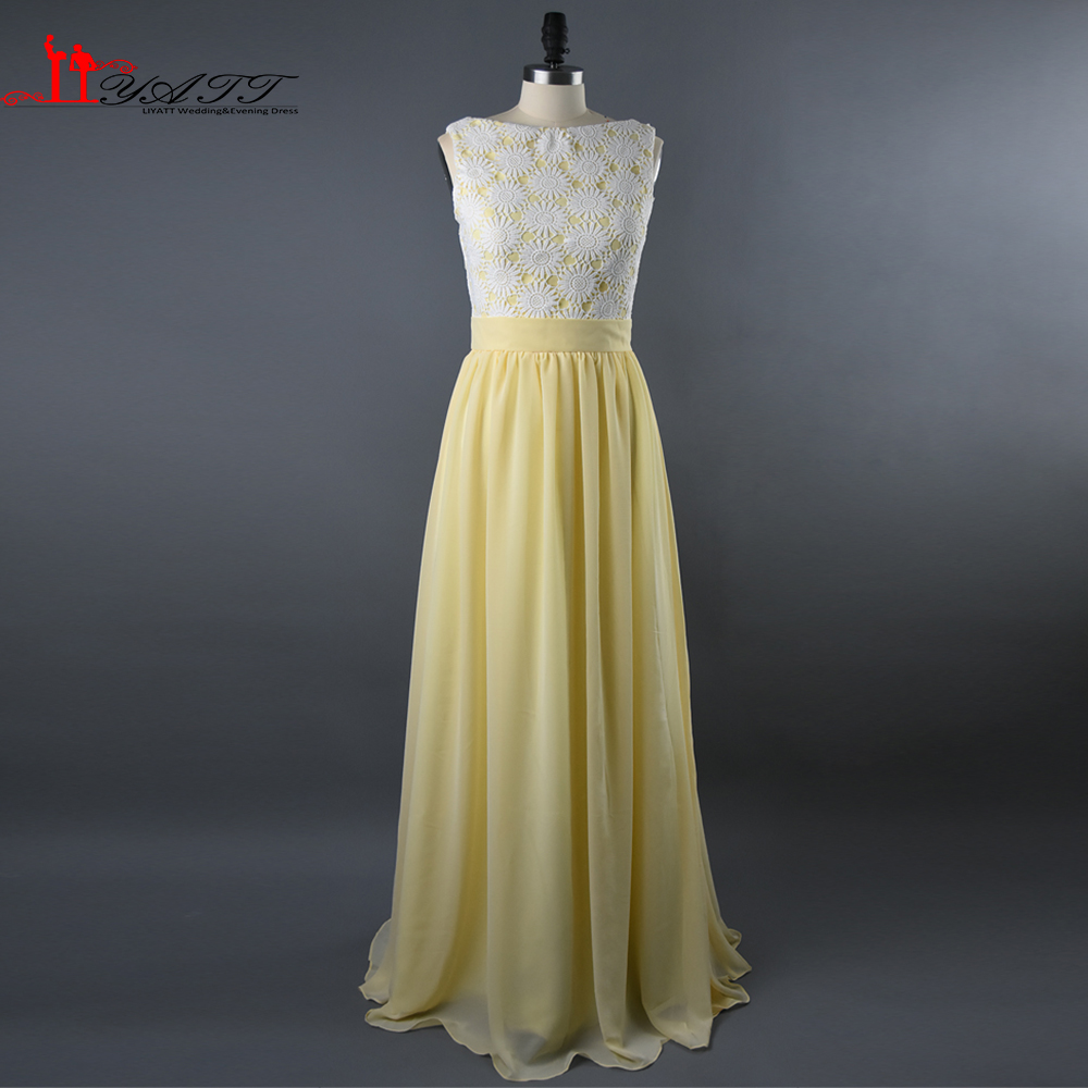 Compare prices on long yellow bridesmaid dress chiffon online 2016 real photo high quality yellow chiffon long lace bodice elegant cheap bridesmaid dresses wedding party ombrellifo Image collections