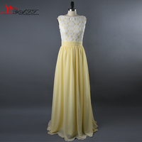 2016 Real Photo High Quality Yellow Chiffon Long Lace Bodice Elegant Cheap Bridesmaid Dresses Wedding Party