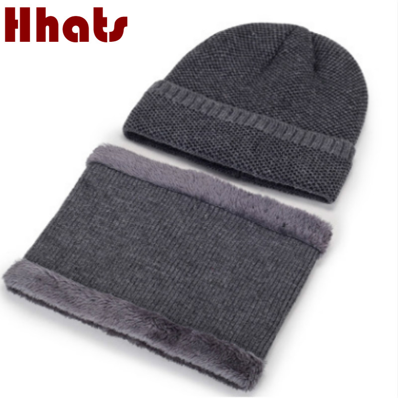 Thickened Warm Plus Velvet Knitted Hat Scarf For Men Fashion Fleece Lining Hat And Scarf Winter Sets Male Winter Accessories