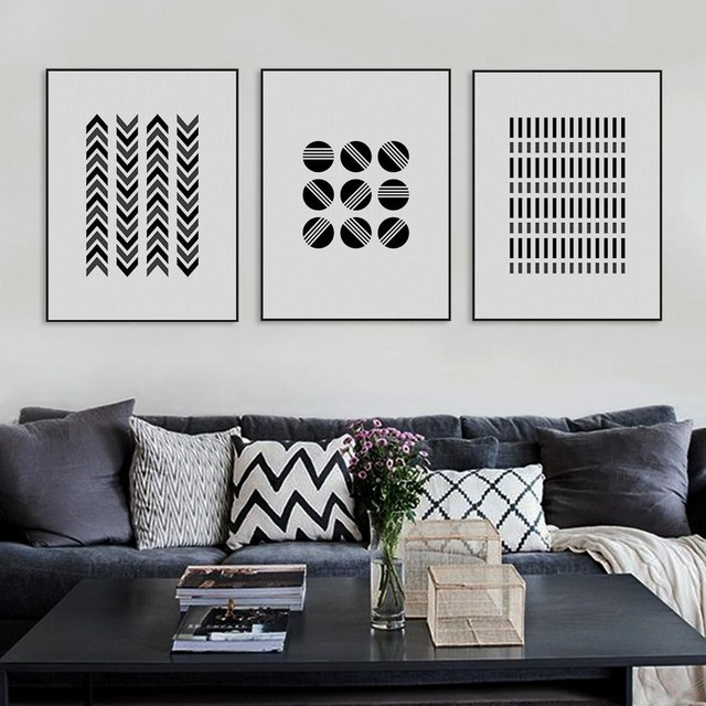 Modern Abstract Black White Geometric Shape Canvas Large Print ...
