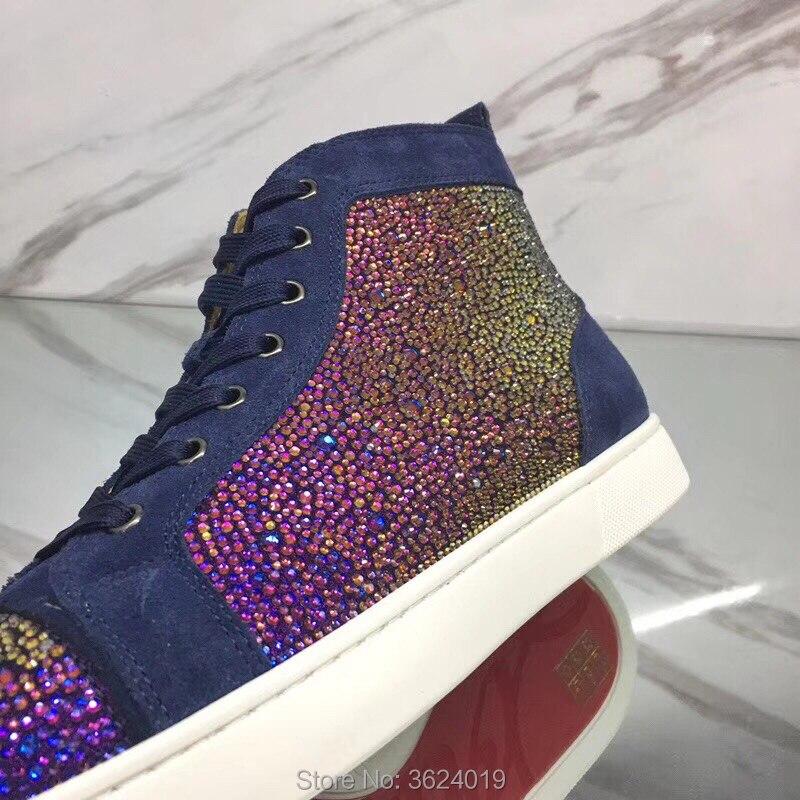High À De Mocassins Swarovski Rouge Extérieure Chaussures Cl Bleu Andgz Femme Lacets 2018 Fond En Cuir Diamant Plat Cut Strass Cristaux nxrzWnY