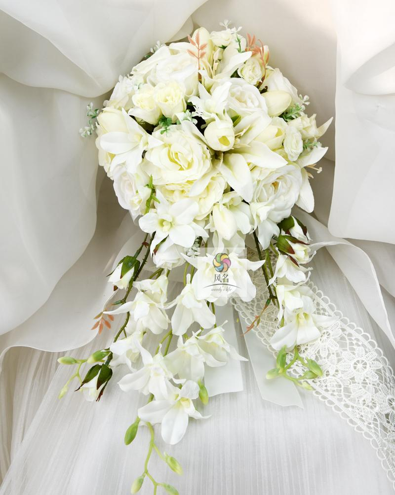 New Waterfall Style Handmade Wedding Bridal Bouquet Orchid Rose Artificial Flowers Bride Hand Holding Flower Bridesmaid Bouquets