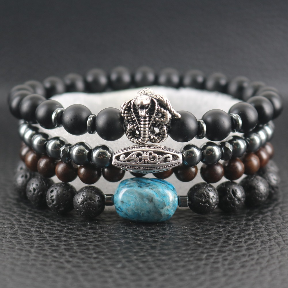 Retro Silver Two Twined Cobras Snakes Bracelets Lava Rock Crazy-gem Hematite Beads Wooden Oval Balls Couple Sporty Bracelets