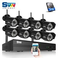 SW Plug Play 8CH Wireless NVR CCTV Video Surveillance Kit P2P 1080P HD Weatherproof Night Vision