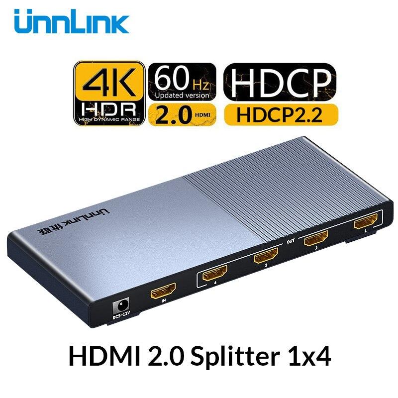 Unnlink HD mi séparateur 1X4 HD mi 2.0 UHD 4K @ 60 HZ 4:4:4 HDR HDCP 2.2 18Gbp 3D pour smart tv LED mi box ps4 xbox one projecteur