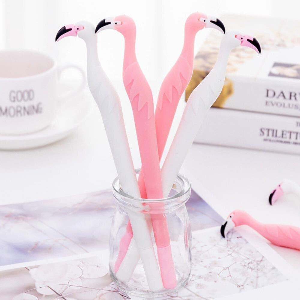 1pc Cute Flamingo Cartoon Black Gel Ink Pen Stationery School Supplies Office Gift for kid Ballpoint Pens     - title=