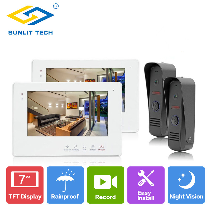 New 7 inch Video Intercom Home Video Door Phone Wired Doorbell Camera Monitor Outdoor Intercom Door Entry Access System Security 3v3 7 inch monitor water proof ip66 wired intercom video door phone