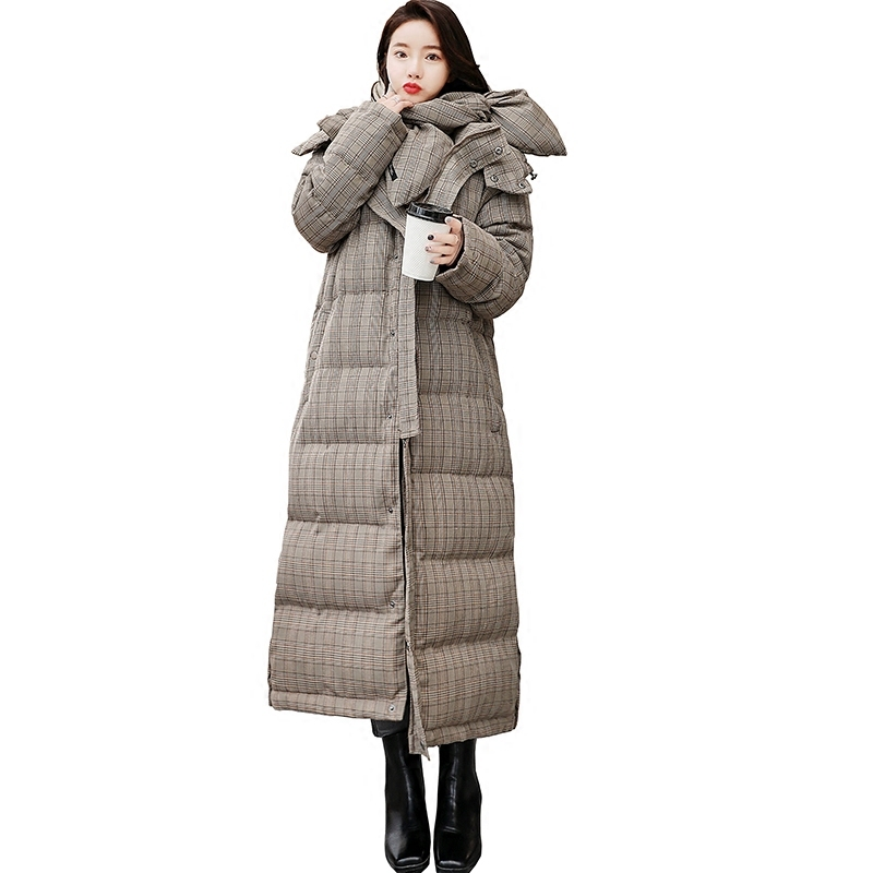 Plaid Long Jacket Hooded Down Cotton Clothing Thick Warm   Parka   2019 Korean New Plus Size Autumn Winter Clothes Women Coat QH487