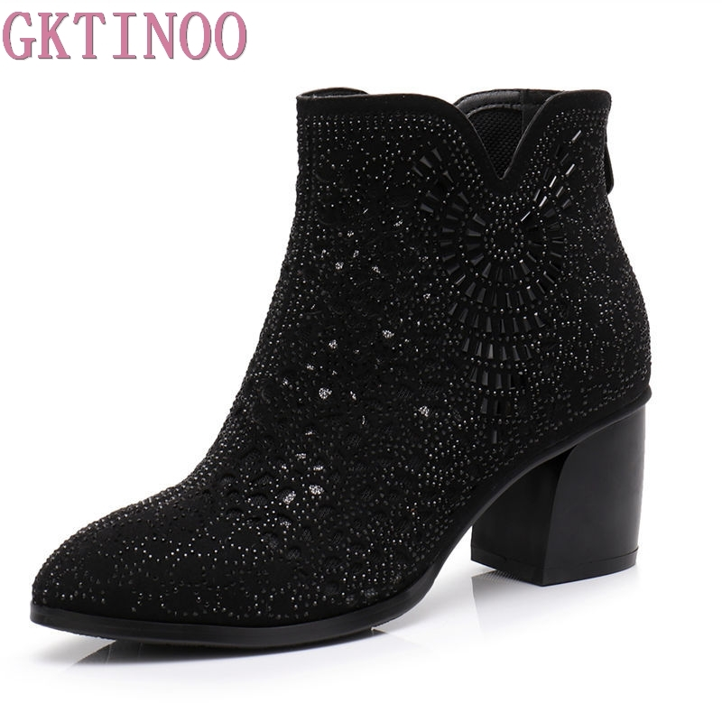 GKTINOO 2018 Spring Autumn Women Ankle Boots Crystal High Heels Boots Pointed Toe Thick Heel Short Boots Women's Shoes Big Size new spring autumn ankle strap women shoes big size 32 46 fashion pointed toe buckle strap thick heel high heels zapatos mujer