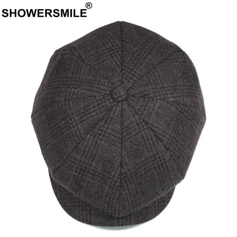 cffbbd61b0 ... SHOWERSMILE Brand Plaid Newsboy Cap Men Vintage Wool Octagonal Cap Male  Warm Winter Painter Hat Grey ...
