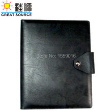 A4 leather 4 rings binder with calculator
